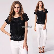 Fashion Women Casual Short Sleeve Blouse Tops O-Neck Burn-out T-Shirt Tops WST
