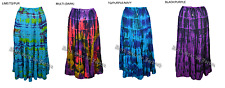 JORDASH THIN CRINKLED COTTON WIDE A-LINE FLOWING HORIZONTAL TIERED GYPSY SKIRT