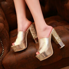 Ladies Womens Gold Open Toe Block Heel Sexy Party Prom Mule Slipper Sandal Shoes