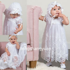 New Baby Baptism Gowns Lace Toddler Christening Dress Custom Bonnet High Quality