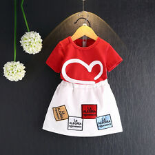 Summer Girls Skirts Sets Printed Skirts+T-Shirts Toddler Girl Sports Suits
