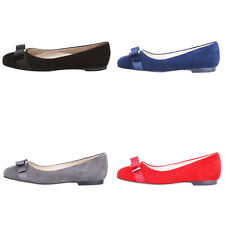 Verocara Women Flat Round Toe with Bow-tie Genuine Patent Leather Flat Pump Shoe