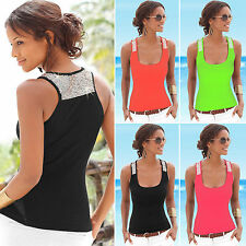 Fashion Womens Scoop Neck Vest Sequin Sleeveless Casual T-Shirt Tank Top Blouses