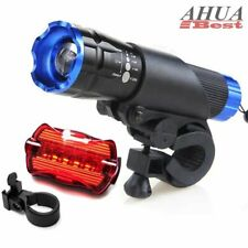 2X CREE Q5 LED Bike Bicycle Cycle Zoomable Torch Front Lights + Rear Lamp Set