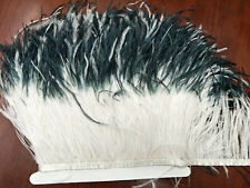 Wholesale 1m natural ostrich feathers ribbon 12-15cm/5-6inch Width black /white
