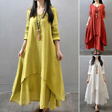 Lady Peasant Ethnic Boho Cotton Linen Long Sleeve Maxi Dress Gypsy Blouse Shirts
