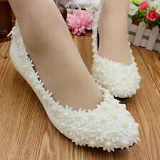 Wedding Prom Lace Bridal Bridesmaid Flat High Low Heels Shoes Pearl wrap-around