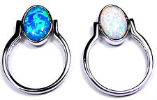Reversible Blue & White Fire Opal Solid 925 Sterling Silver Ring size 6 - 8