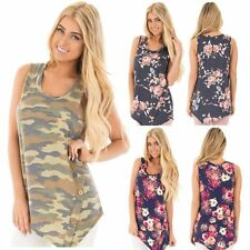 2017 New Ladies Casual Camouflage Sleeveless Tops Shirt Loose T-shirt Blouse