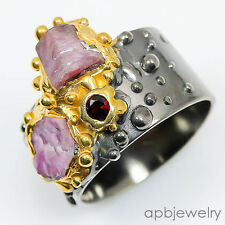 Fine Art Ring Natural Ruby 925 Sterling Silver Ring Size 7.75/R15986
