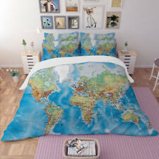 World Map Duvet Doona Quilt Cover Set Queen/King Size Bed Fitted Sheet Set New