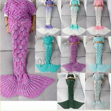 Girl Teen Adult Knitted Crochet Sofa Wrap Costumes Mermaid Tail Quilt Blanket