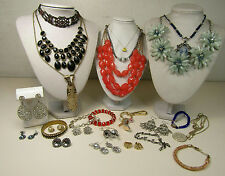 Sparkle Rhinestone Costume Jewelry Lot Mixed Colors Necklaces Earrings AS IS
