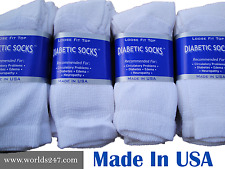 DIABETIC CREW SOCKS 4 COLORS 6,12,18 PAIR MADE IN USA SIZE 9-11,10-13 & 13-15