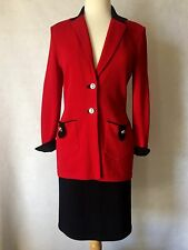 St John Collection Red Santana Knit Skirt Suit Size 2