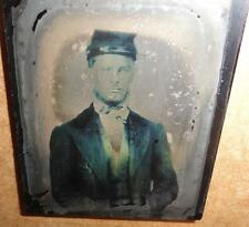 CIVIL WAR UNION INFANTRY SOLDIER 1/9TH PLATE RUBY AMBROTYPE W/ HALF CASE KEPI