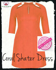 Coral Star Cut-Out Ponti Skater Dress - Plus Size 16 to 26