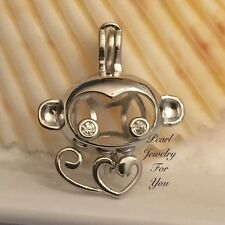 CUTE MONKEY Pearl Cage Pendant Necklace STERLING SILVER wish akoya oyster