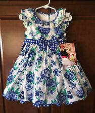 Nannette Girls Occasion Cotton Swiss Dot Blue Floral Toddler Dress Sz 2 3 4 NWT