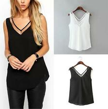 Women Summer Chiffon Vest Top Sleeveless Casual Tank V-neck Blouses Tops T-Shirt