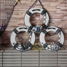 """Nautical decor 12.5""""φ wood Life Ring Beach Home Pub Store WELCOME Sign Plaques"""