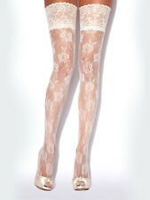 Charnos Floral Fishnet Hold Ups, Decorative Luxury Bridal Thigh Highs, Ivory