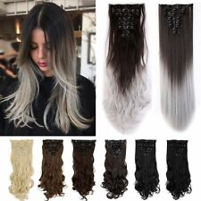 US Long 100% Natural 8 Pieces Clip In Hair Extensions 18 Clips As Human Hair Hc5