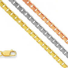 "10k Solid Yellow Or White Gold 1 mm Box Chain Necklace 16"" 18"" 20"" 22"" 24"" 30"""