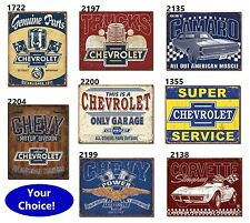 Rustic Chevy TIN SIGN Vintage Chevrolet HotRod Garage metal poster wall decor DS