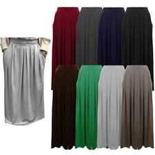 LADIES WOMENS PLAIN PLEATED ELASTICATED WAIST POCKET LONG MAXI SKIRT SIZE 8 - 14