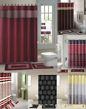 NEW DESIGNS SHOWER CURTAIN COVERED FABRIC HOOKS  BATHROOM SET 13PC GRP 2