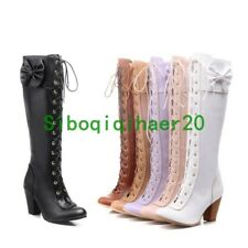 Womens Lady Cute Bowknot Lace Up Shoes Heels Knee High Dress Boots Plus Size US7