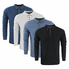 Mens Long Sleeve Top by Designer Brave Soul Collared Cotton Casual Polo S - XXL