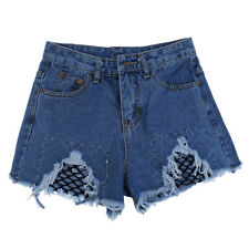 VINTAGE WOMENS LADIES HIGH WAISTED HOLE RIPPED SHORTS HOTPANTS DENIM JEANS