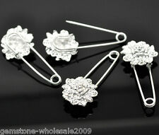 10-1000 wholesale Silver Plated Flower Safety Pins Brooches 5.7x2.4cm GW