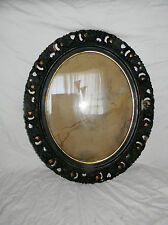 large vintage carved wood plaster oval frame w glass 27