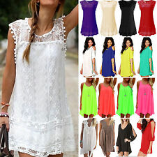 Womens Boho Chiffon Mini Dress Summer Holiday Beach Casual Sun Dress Tops Shirt