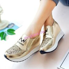 Fashion Gold Womens Sneakers Athletic Tennis Shiny Shoes Rhinestone Wedge Shoes