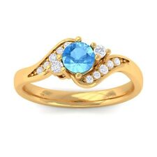 Blue Topaz GH VS Natural Gemstone Diamond Engagement Ring Yellow Gold