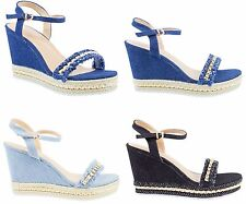 Womens Denim Heels Strappy Studs Wedges Sandals Distressed Platform Summer Shoes