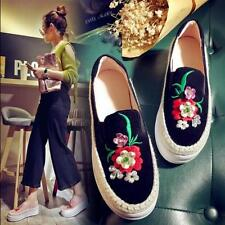 Womens Embroidery Floral Platform Creepers Wedge Slip On Loafers Casual Shoes Sz