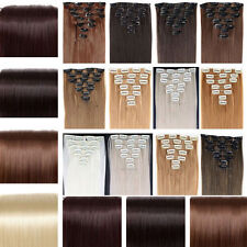 Thick 8 Pieces Full Head Clip in As Human Hair Extensions Long Straight Wavy Nl8