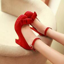 Women Bowknot Faux Suede Block  Heels Platform Buckle Strappy Pump Party Shoes