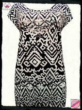 Black & White Aztec Print Embellished Tunic Top- Plus Size 22/24