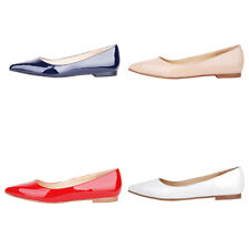 Verocara Women PointyToe Simple Style Genuine Patent Leather Flat Pump Shoes