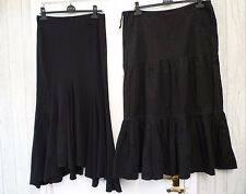 Black 12 14/16 WALLIS ONE Lace Trim Flippy Hem Wicca Goth Boho Hippy Maxi Skirt