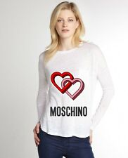 White Women Top Tee T-shirt Blouse Long Sleeve Red & Pink Hearts Love Moschino