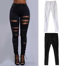 Women Lady Destroyed Ripped Slim Legging Pencil Pants High Waist Skinny Trousers