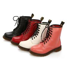 Fashion Womens Round Toe Combat Punk Ankle Boots Mid Calf Flat Heel Shoes Size