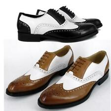 Mens Vintage Oxford Brogue wing tip genuine leather Dress formal Casual Shoes Sz